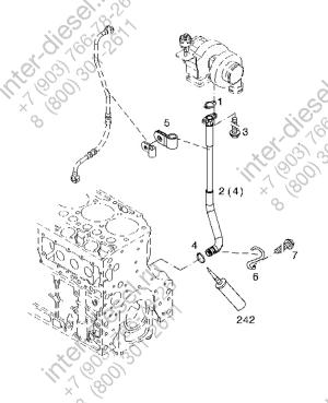 Трубка слива масла с турбины в блок цилиндров с уплотнением (Return line) 04299361
